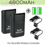 2x 4800mah Usb Charger Cable Rechargeable For Xbox 360 Wireless Controller Usa