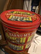 Vintage 1990 Barnums Circus Animal Crackers Tin Pail Red Plastic Handle With Lid