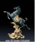 Wester Pure Brass Copper Hand Painting Marble Art Decoration Horse Sculpture