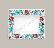 Marble White Collectible Photo Storage Frame Turquois Inlay Marquetry Floral Art