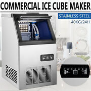 Commercial Ice Maker Stainless Steel Built-in Ice Cube Machine Undercounter 90lb