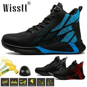 Mens Steel Toe Mid-ankle Boots Labor Casual Esd Utility Protective Safety Shoes