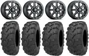Itp Inertia Beadlock 14 Wheels Bk +40mm 28 Bear Claw Evo Tires Can-am Defender