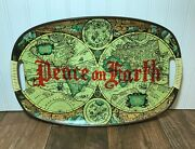 Old World Map 17.5 Wooden Serving Platter Tray Peace On Earth Compass Atlas