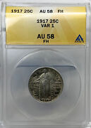1917 Type 1 Full Head Standing Liberty Silver Quarter Anacs Au 58 Fh