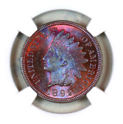 1892 Ms64 Bn Ngc Indian Head Penny Premium Quality Monster Toning