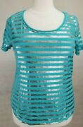 Lane Bryant Teal Silver Foil Striped Graphic Short Sleeve Tee Top Plus Sz 14/16