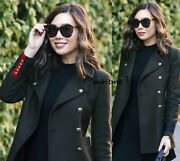 Zara Coat With Red Accents Military Khaki Green Gold Buttons Jacket Blazer - S