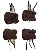 Cwd Brown Leather Sheepskin Lined Open Front Tendon Boots Size 3 New