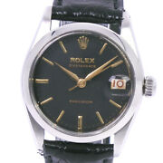 Rolex 6466 Precision Watches Stainless Steel/leather 手巻き Boys Blackdial