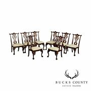 And039mahogany Collectionand039 Chippendale Style Set 8 Ball And Claw Dining Chairs