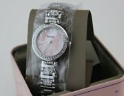 New Authentic Fossil Karli Pink Mop Silver Crystals Womenand039s Bq3182 Watch