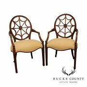 Ethan Allen Quality Pair Spider Back Armchairs