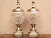 Pair Of Hand Crafted Lidded Crystal Jars By Decorative Crafts Baccarat Style