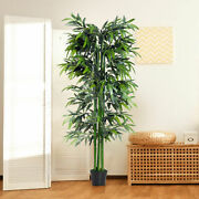 1.8m6ft Artificial Bamboo Tree Plant Decor Greenary In A Pot Home Office
