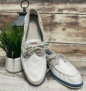 New Menand039s Sperry Top-sider A/o 2-eye Nautical White Canvas Boat Shoes Tan 13 M
