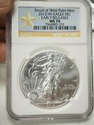 2012 W Early Releases American Eagle 1 Oz .999 Fine Silver Dollar - Ngc Ms70