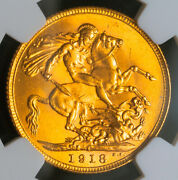 1918-i, India British, George V. Gold Sovereign Coin. Bombay Mint Ngc Ms-63