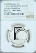 2003 Portugal Silver 5 Euro 1st Postage Stamp Anniv Ngc Pf 70 Ultra Cameo Pop 1