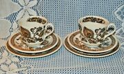 2 Beautiful Sets Of 3 Vintage Ridgway Jacobean Cups Saucers And Side Plates