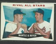 1960 Topps Mickey Mantle Ken Boyer Rival All Stars 160 Good