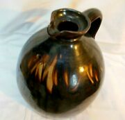 Antique Stoneware 2 Glazed Brown Molasses Syrup Jug With Spout