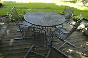 Vintgae Metal Outdoor Patio Lawn Table Rocking Chairs 5 Piece Iron Leaf Design