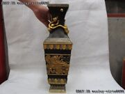 Chinese Pure Bronze Copper 24k Gold Silver-gilt Foo Dog Lion Beast Face Vase Pot