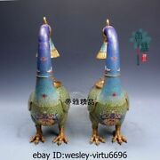 Chinese Palace Red Copper Cloisonne 24k Gold Gild Peacock Oil Lamp Candlestick