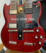 Greco Sgw-1300 Double Neck Electric Guitar With Hard Case Shipped From Japan
