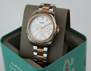 New Authentic Fossil Janice Chronograph Silver Rose Gold Womenand039s Bq3420 Watch