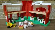 Vintage 1995 Fisher Price 2590 Red Barn Silo Little People Farm Toy