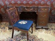 Antique Highly Carved 7 Drawer Desk With Needlepoint Chair