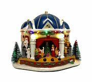 St Nicholas Square Village Christmas Play Lighted Building Musical New Free Ship