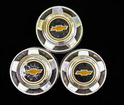 Lot Of 3 Vintage 1970s Chevy Truck Dog Dish Hubcaps 10.75 Good Condition
