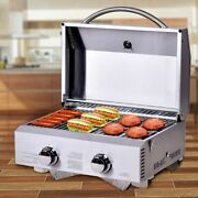 Portable Gas Bbq Steel Table Top Grill Campervan Barbeque Cooker Outdoor Picnic
