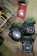 Vintage Rotary And Push Button Desk Phones At Least 5 Includes Red And Yellow