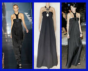 S/2007 L 36 New Chrome Embellished Black Empire Waist Dress Gown Size 40