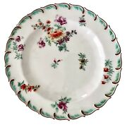 Chelsea Plate, Feather-moulded With Flowers, Red Anchor Ca 1755