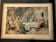 Vincente De Paredes Hand Colored Litho. The Favorite Party Of Louis Xv At Choisy