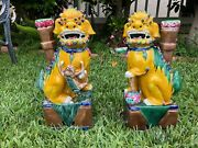 Vintage Pair Of Rare Asian Porcelain Foo Dogs 14 Tall
