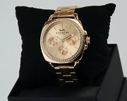 New Authentic Coach Perfect Boyfriend Rose Gold Crystals Women's 14503131 Watch