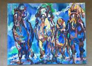 Original Oil Canvas Painting Signed Horse Racetrack Racing Leroy Neiman Style