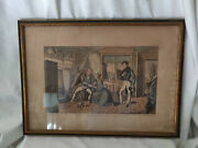Antique Lithograph Dated 1837 The Reconciliation Jl Marks Long Lane Smithfield