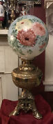 Antique The Pittsburgh Parlor Lamp Ornate Brass Base Hand Painted Glass Globe