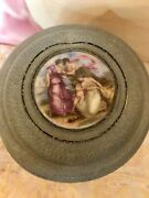 Antique French Victorian Musical Power Box W/ Handpainted Scene On Lid.