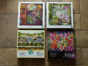 Set Of 4 Buffalo Games Brand Large Piece 300 Piece Jigsaw Puzzles All Complete