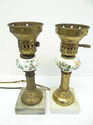 Two Vintage Used Hand Painted White Glass Marble Base Table Lamps Lights Parts