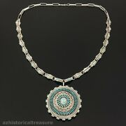 Harry Melikan - Native American Zuni Sterling Silver Turquoise Sun Necklace