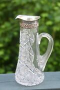 Abp American Brilliant Cut Glass Claret Pitcher With Sterling Silver Collar